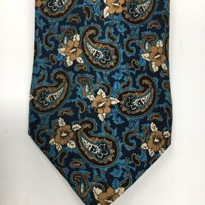 Navy blue turquoise and white silk tie